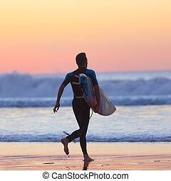 plage, surfeur, silhouette, surfboard.