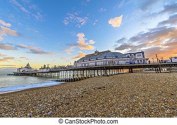 plage, sussex, angleterre, eastbourne, royaume-uni, est, ...