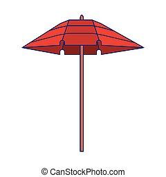plage, symbole, parapluie, dessin animé, isolé
