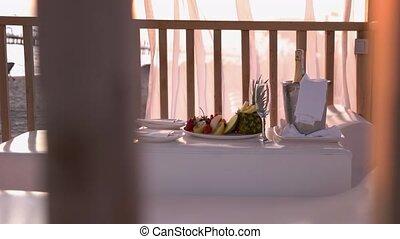 plage., table, montage dîner, romantique
