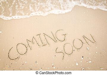 plage, texte, bientôt, venir, sablonneux