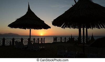 plage, timelaps, levers de soleil