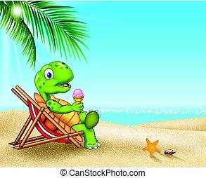 plage tortue, dessin animé, délassant