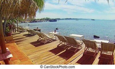 plage tropicale, cambodgien, pont