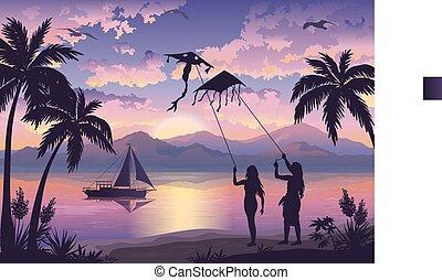 plage tropicale, cerfs volants, gens