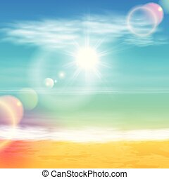 plage tropicale, clair, sun., mer