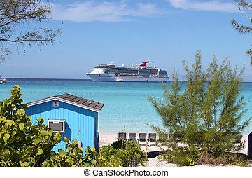 plage tropicale, coloré, cabana