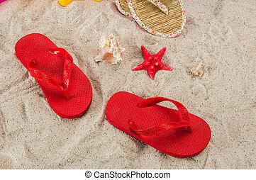 plage tropicale, concept, fetes