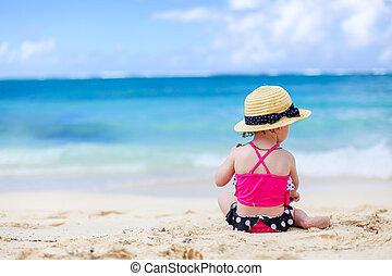 plage tropicale, confection, girl, blanc, château, peu, sable