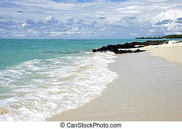 plage tropicale, et, nuageux, ciel bleu