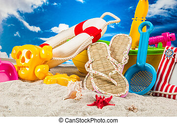 plage tropicale, fetes, concept