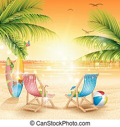 plage tropicale, fond