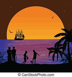 plage tropicale, jouer, enfants