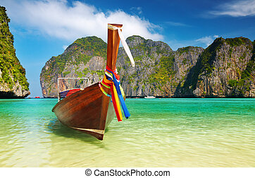 plage tropicale, maya, baie, thaïlande