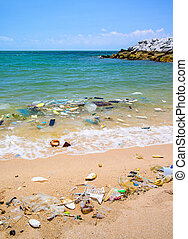 plage tropicale, sea., pollution