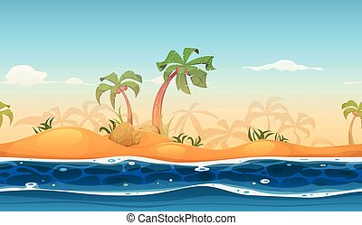 plage tropicale, seamless, paysage