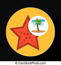 plage tropicale, vacances, mer, etoile mer
