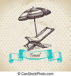 plage, umbrella., illustration, fond, fauteuil, vendange, main, dessiné