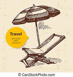 plage, umbrella., voyage, illustration, fond, fauteuil, vendange, main, dessiné