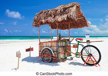 plage, vélo, barre
