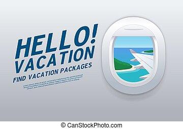 plage., vacation., vacances, bonjour, exotique, fenêtre., destinations., avion, vue