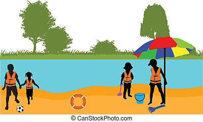 plage, vecteur, -, illustration