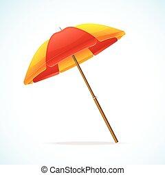 plage, vecteur, jaune, parapluie rouge