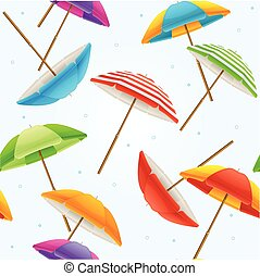 plage, vecteur, parapluie, arrière-plan.