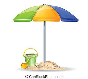 plage, vecteur, parapluie, jouets