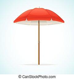plage, vecteur, parapluie