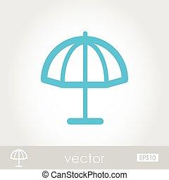 plage, vecteur, parasol, icône