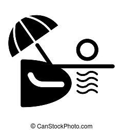 plage, vector., parapluie, illustration, océan, rivage, vecteur, mer noire, chaise, blanc, ou, longue.