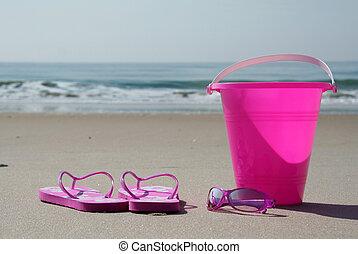 plage, volte-face, lunettes soleil, seau