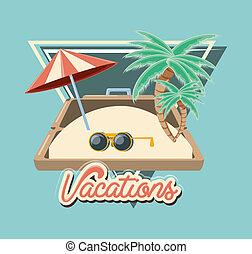 plage, voyage, parapluie, vacances