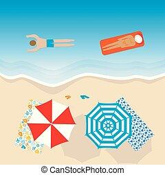 plage, vue, aérien, vacances, gens