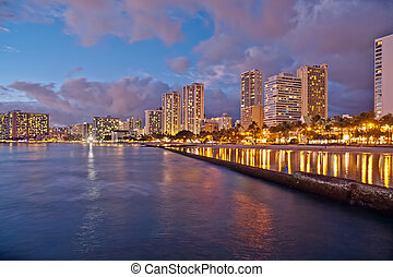 plage, waikiki, île, hawaï, oahu, cityscape