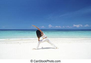 plage, yoga
