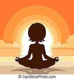 plage, yoga, silhouette, fond