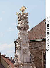Plague column, Fisherman Bastion on the Buda Castle hill in Budapest, Hungary