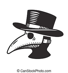 Plague doctor illustration - Plague doctor head profile,...