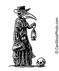 Plague, doctor with bird mask, suitcase, lantern, garlic and...