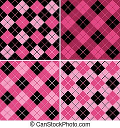 Plaid-Argyle Patterns Pink-Black - Collection of four ...