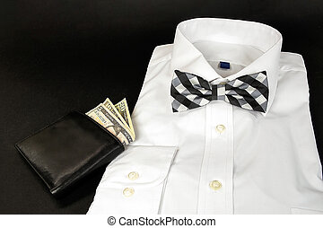 plaid bow tie on shirt with wallet