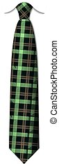 Plaid, checkered silk tie template. Easy editable colors - vector.