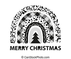 Plaid Christmas tree rainbow winter leopard vector