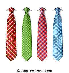 plaid, cravates, soie, checkered