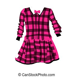 Plaid dress for girls. Fashionable clothes for kids. Vector illustration on a white background. School uniform.