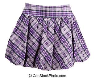 Plaid feminine skirt insulated on white background