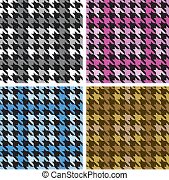 Plaid Houndstooth in Four Colorways - Vector seamless plaid...