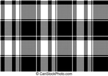 plaid, modèle, seamless, chèque, noir, blanc, pixel